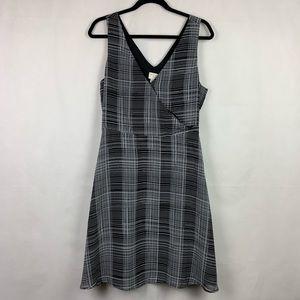 A New Day Black & White Faux Wrap Dress Large